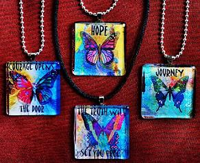 Glass Butterfly Inspirational Word Pendants-40 Words and Phrases to Choose From!